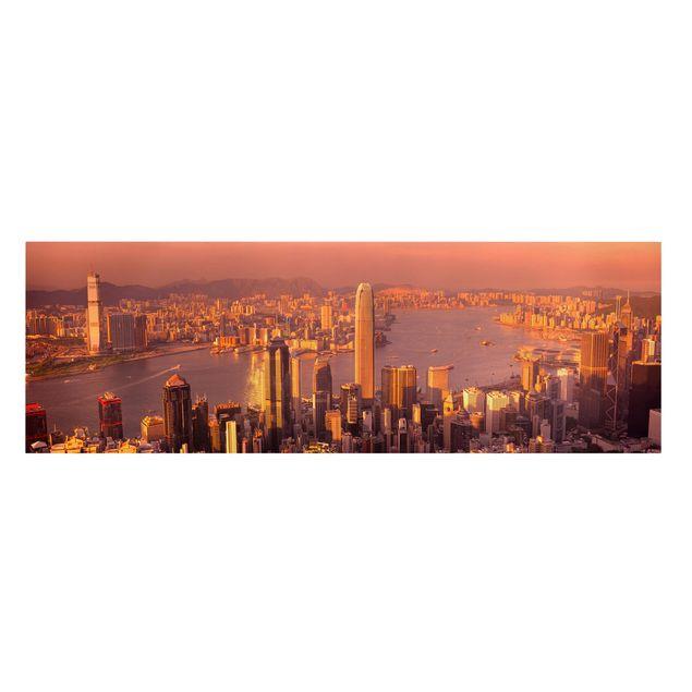 Produktfoto Leinwandbild - Hongkong Sunset - Panorama Quer, Frontalansicht, Artikelnummer 207906-FF