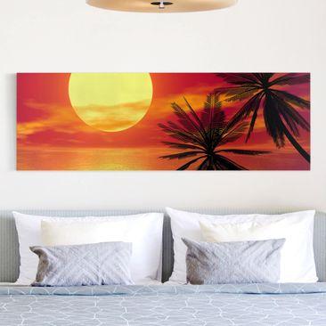 Produktfoto Leinwandbild - Karibischer Sonnenuntergang - Panorama Quer, vergrößerte Ansicht in Wohnambiente, Artikelnummer 207918-XWA