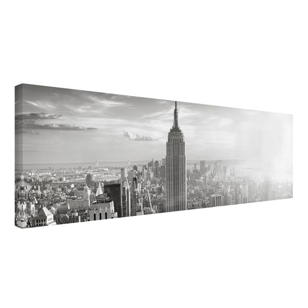 Produktfoto Leinwandbild Schwarz-Weiß - Manhattan Skyline - Panoramabild Quer, Spiegelkantendruck links, Artikelnummer 207947-FL