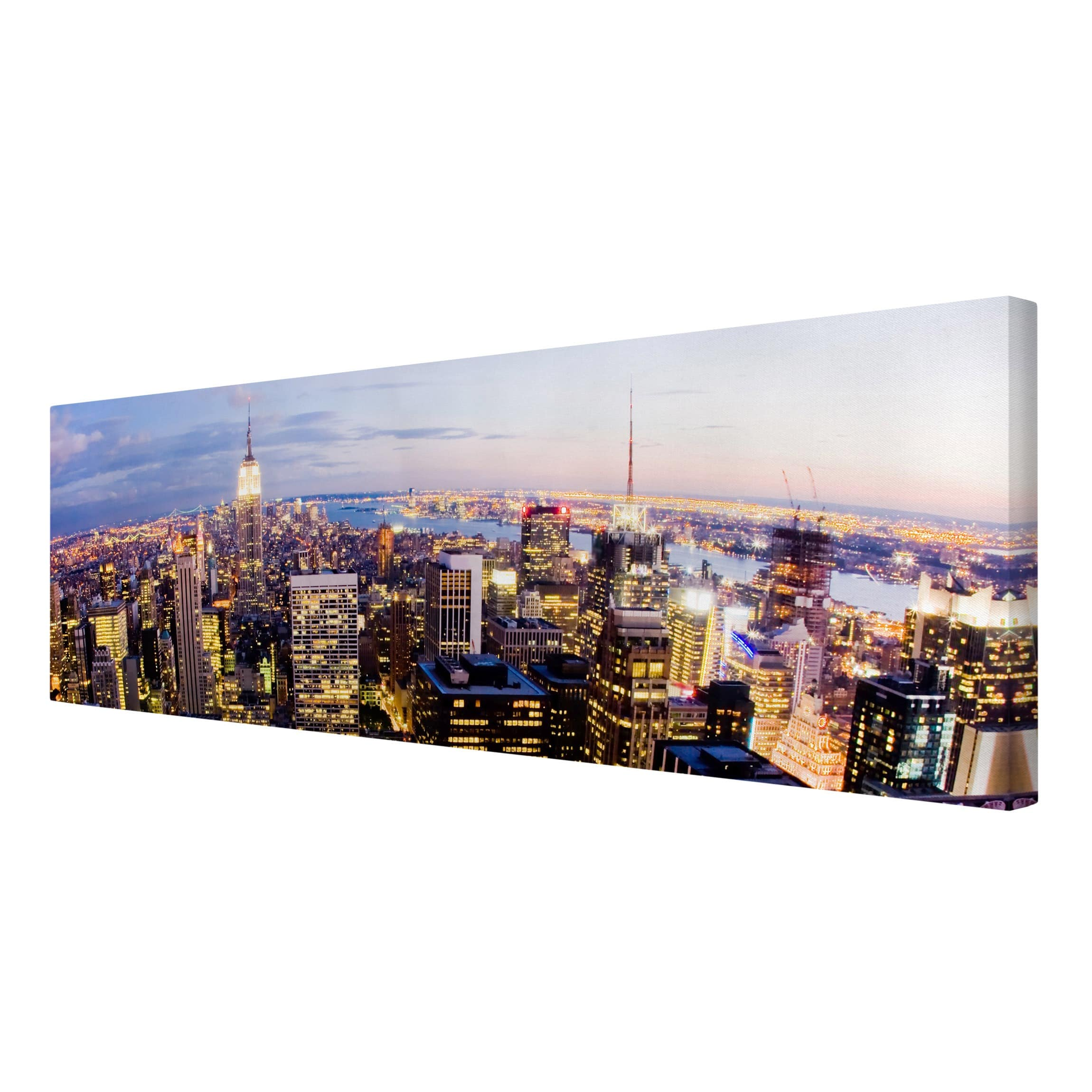 leinwandbild new york skyline bei nacht panorama quer. Black Bedroom Furniture Sets. Home Design Ideas