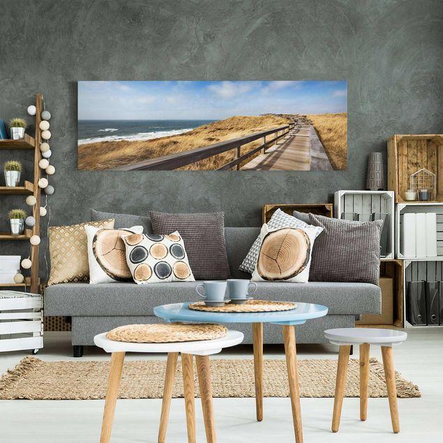 Produktfoto Leinwandbild - Nordseespaziergang - Panorama Quer, in Wohnambiente, Artikelnummer 207998-WA
