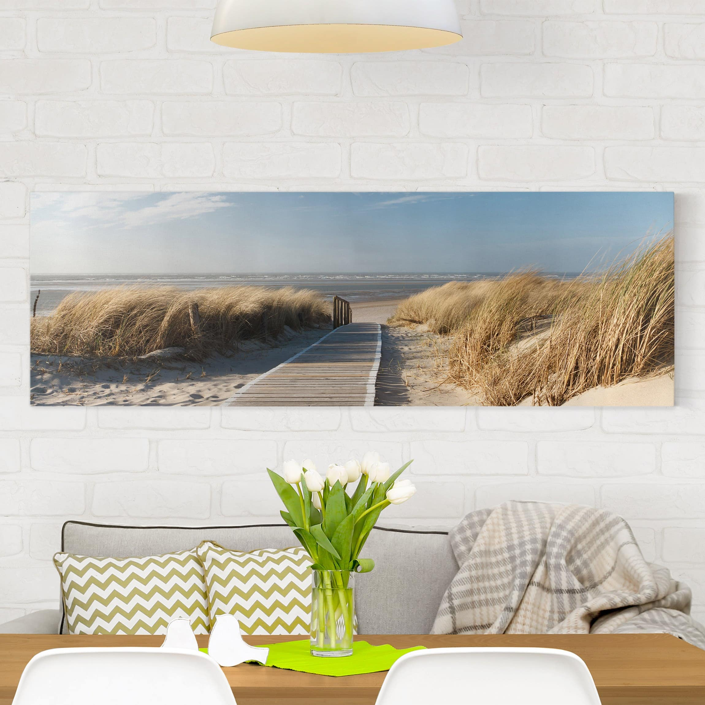 leinwandbild ostsee strand panorama quer. Black Bedroom Furniture Sets. Home Design Ideas