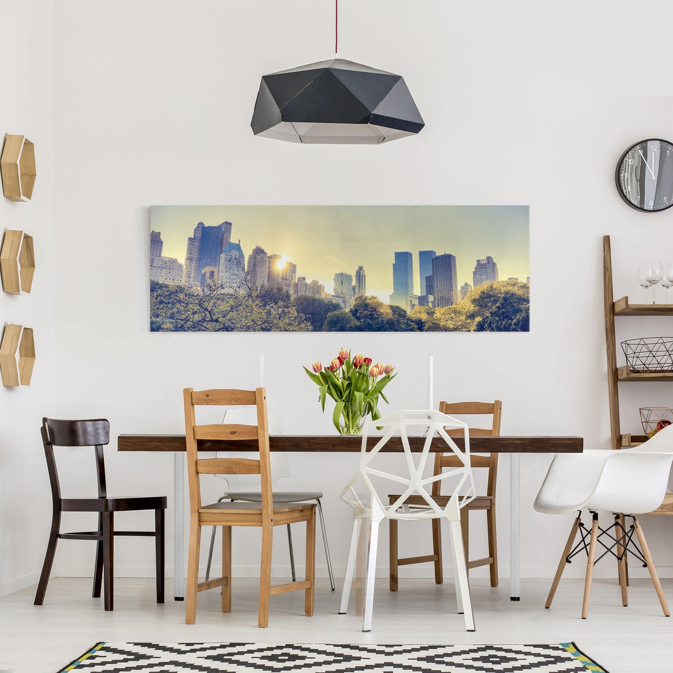 leinwandbild peaceful central park new york panoramabild quer. Black Bedroom Furniture Sets. Home Design Ideas