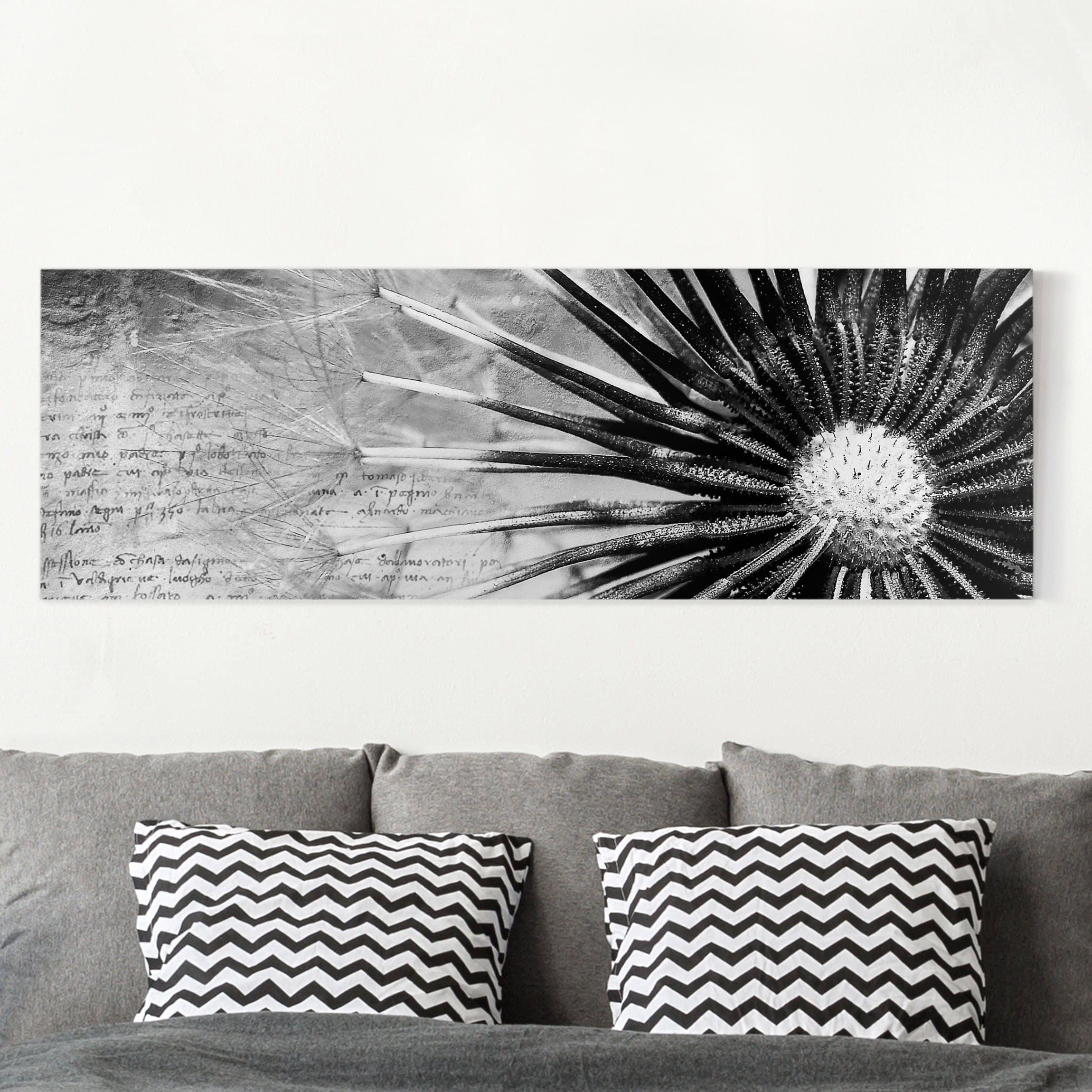 leinwandbild schwarz wei pusteblume schwarz wei panoramabild quer. Black Bedroom Furniture Sets. Home Design Ideas