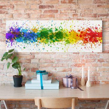 Produktfoto Leinwandbild - Rainbow Splatter - Panorama Quer, vergrößerte Ansicht in Wohnambiente, Artikelnummer 208040-XWA