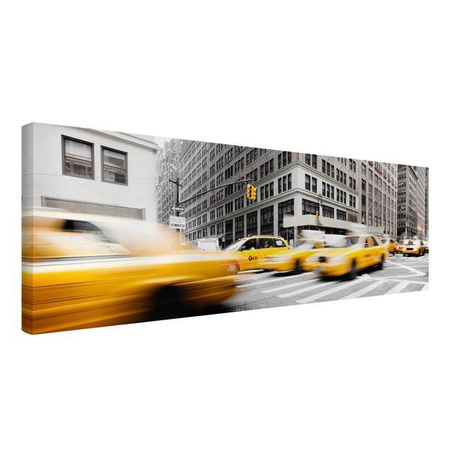 Produktfoto Leinwandbild Schwarz-Weiß - Rasantes New York - Panoramabild Quer, Spiegelkantendruck links, Artikelnummer 208042-FL