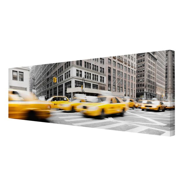 Produktfoto Leinwandbild Schwarz-Weiß - Rasantes New York - Panoramabild Quer, Spiegelkantendruck rechts, Artikelnummer 208042-FR