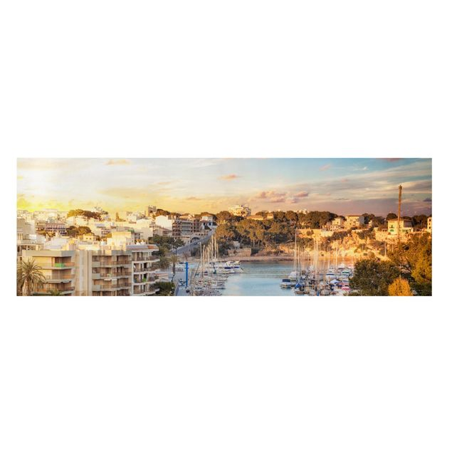 Produktfoto Leinwandbild - Sunny Porto Cristo - Panorama Quer, Frontalansicht, Artikelnummer 208116-FF