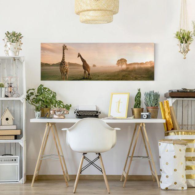 Produktfoto Afrika Leinwandbild Surreal Giraffes - Panorama Quer, in Wohnambiente, Artikelnummer 208119-WA