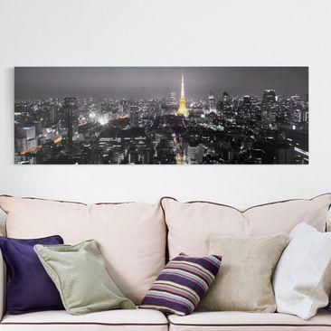 Produktfoto Leinwandbild Schwarz-Weiß - Tokio - Panoramabild Quer, vergrößerte Ansicht in Wohnambiente, Artikelnummer 208131-XWA