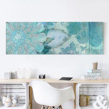 Produktfoto Leinwandbild - Winterblumen - Panorama Quer, vergrößerte Ansicht in Wohnambiente, Artikelnummer 208169-XWA
