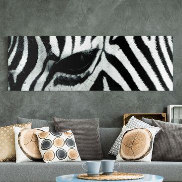 Produktfoto Leinwandbild Schwarz-Weiß - Zebra Crossing No.4 - Panoramabild Quer, vergrößerte Ansicht in Wohnambiente, Artikelnummer 208174-XWA