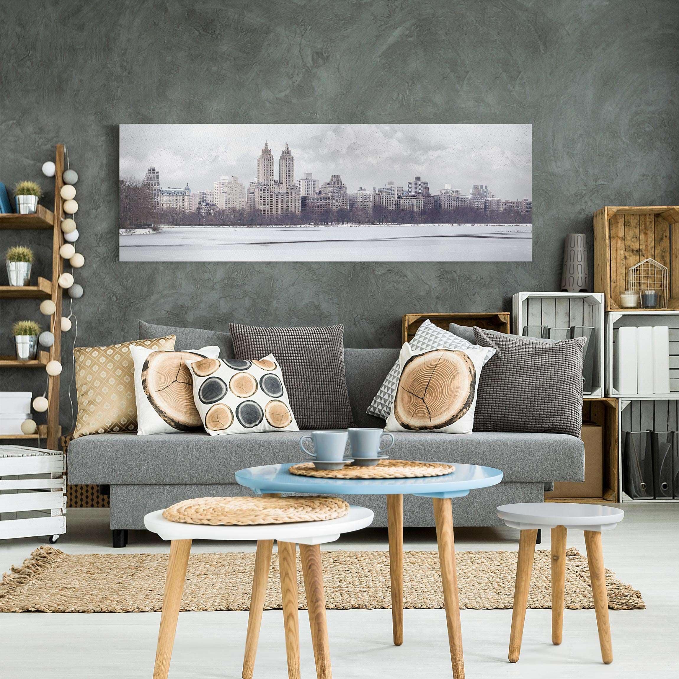 leinwandbild schwarz wei no yk2 new york im schnee panoramabild quer. Black Bedroom Furniture Sets. Home Design Ideas