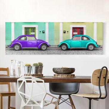 Produktfoto Leinwandbild - Beetles Lila-Türkis - Panorama Quer, vergrößerte Ansicht in Wohnambiente, Artikelnummer 208208-XWA