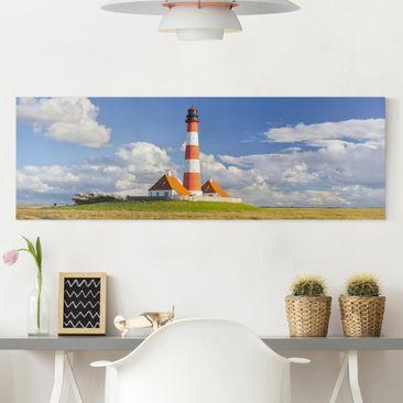 Produktfoto Leinwandbild - Leuchtturm in Schleswig-Holstein - Panorama Quer, vergrößerte Ansicht in Wohnambiente, Artikelnummer 208245-XWA