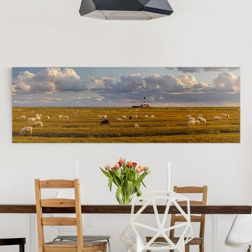 Immagine del prodotto Stampa su tela - North Sea Lighthouse With Sheep Herd - Panoramico