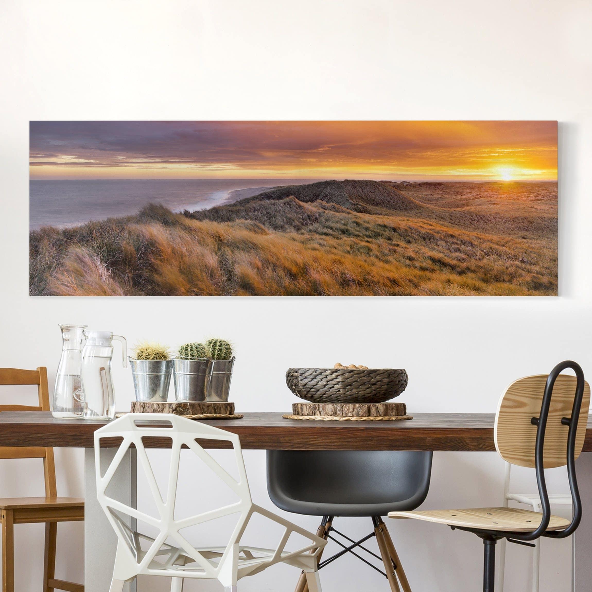 Leinwandbild sonnenaufgang am strand auf sylt panorama for Wohnzimmer leinwandbilder