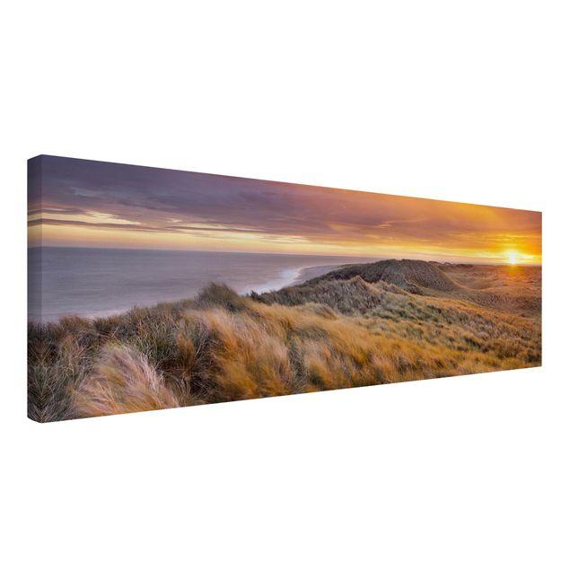 Produktfoto Leinwandbild - Sonnenaufgang am Strand auf Sylt - Panorama Quer, Spiegelkantendruck links, Artikelnummer 208252-FL