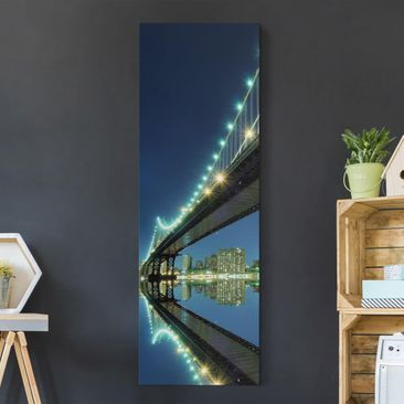 Produktfoto Leinwandbild - Abstract Manhattan Bridge - Panorama Hoch, vergrößerte Ansicht in Wohnambiente, Artikelnummer 208275-XWA