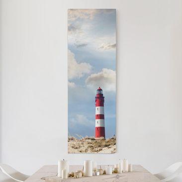 Produktfoto Leinwandbild - Leuchtturm in den Dünen - Panorama Hoch, vergrößerte Ansicht in Wohnambiente, Artikelnummer 208349-XWA