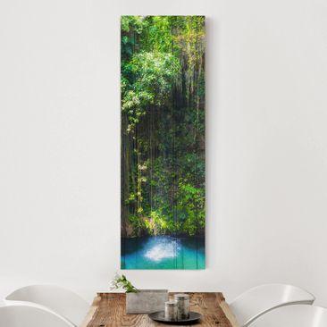 Produktfoto Leinwandbild - Hängende Wurzeln von Ik-Kil Cenote - Panorama Hoch, vergrößerte Ansicht in Wohnambiente, Artikelnummer 208450-XWA