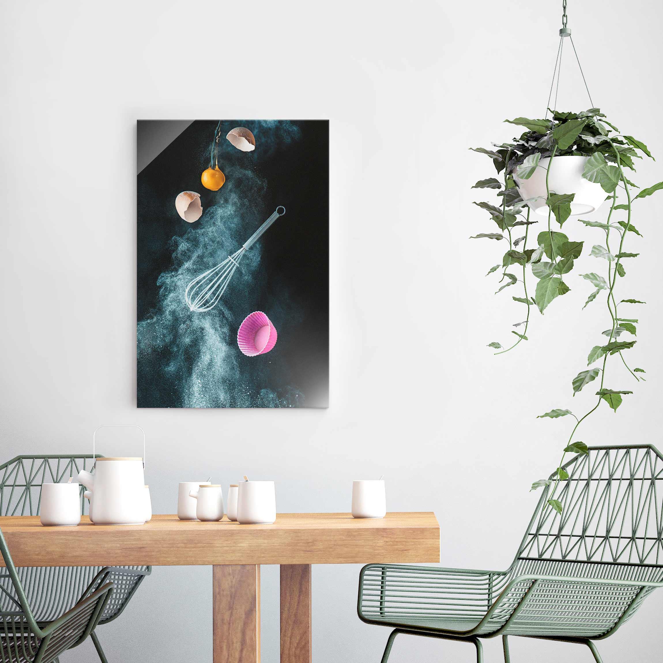 glasbild chaos in der k che hoch 3 2. Black Bedroom Furniture Sets. Home Design Ideas