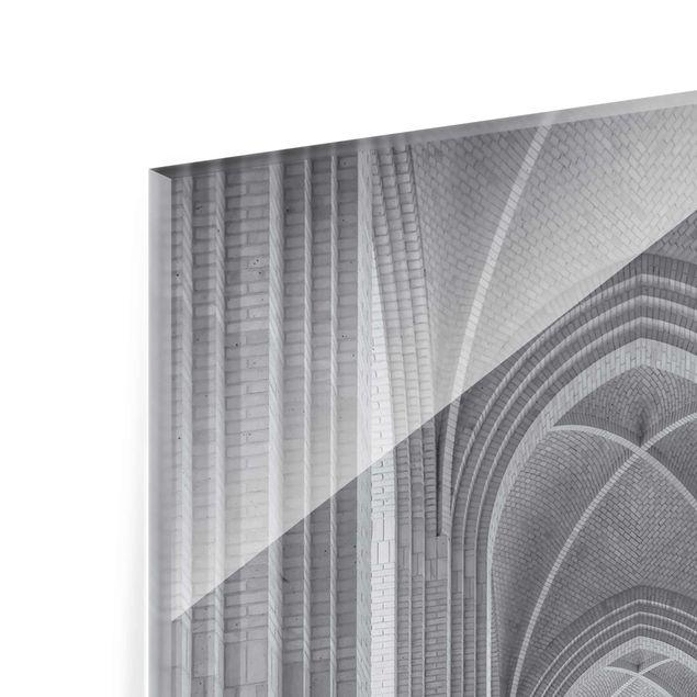 Produktfoto Glasbild - Kreuzgang in der Grundtvigs Kirke - Hoch 3:2