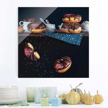 Produktfoto Glasbild - Donuts vom Küchenregal - Quadrat 1:1