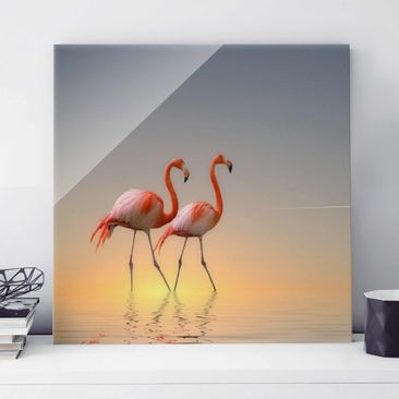 Produktfoto Glasbild - Flamingo Love - Quadrat 1:1