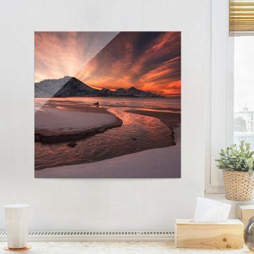 Produktfoto Glasbild - Goldener Sonnenuntergang - Quadrat 1:1