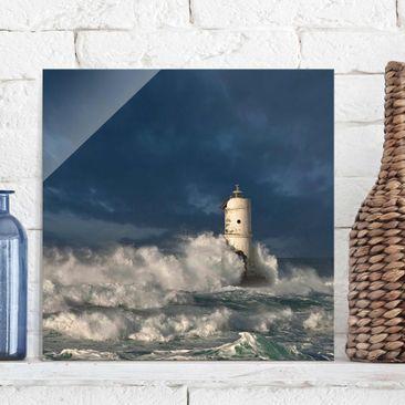 Produktfoto Glasbild - Leuchtturm auf Sardinien - Quadrat 1:1
