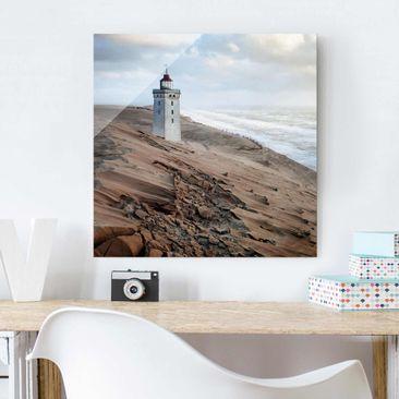 Produktfoto Glasbild - Leuchtturm in Dänemark - Quadrat 1:1
