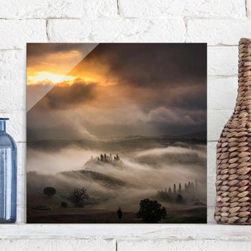 Produktfoto Glasbild - Nebelwellen - Quadrat 1:1