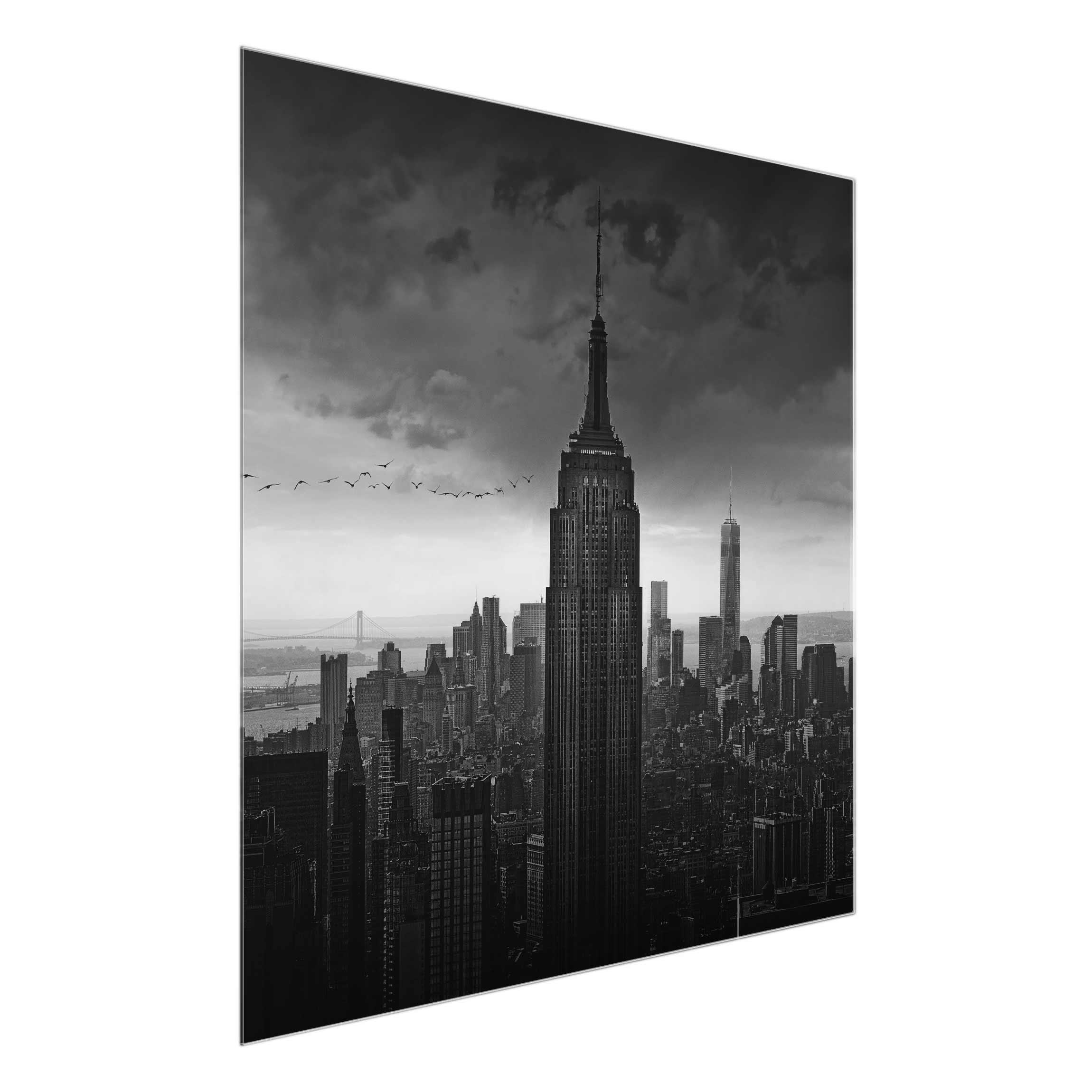 glasbild new york rockefeller view quadrat 1 1. Black Bedroom Furniture Sets. Home Design Ideas