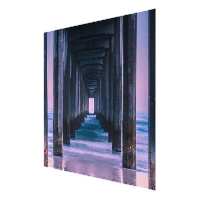 Produktfoto Glasbild - Pier im Sonnenuntergang - Quadrat 1:1