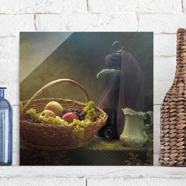 Immagine del prodotto Quadro in vetro - Natura morta con Cesto di Frutta - Quadrato 1:1