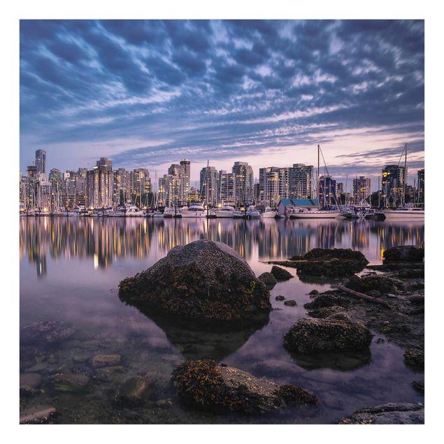 Produktfoto Glasbild - Vancouver im Sonnenuntergang - Quadrat 1:1