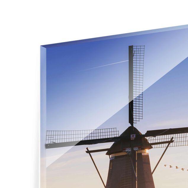 Produktfoto Glasbild - Windmühlen von Kinderdijk - Quadrat 1:1