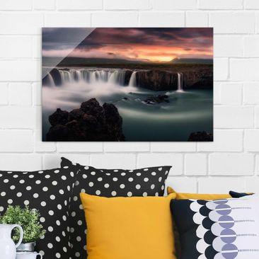 Produktfoto Glasbild - Goðafoss Wasserfall in...