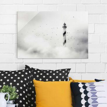 Produktfoto Glasbild - Leuchtturm im Nebel - Quer 2:3