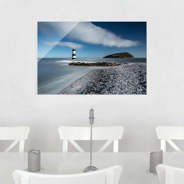 Produktfoto Glasbild - Leuchtturm in Wales - Quer 2:3