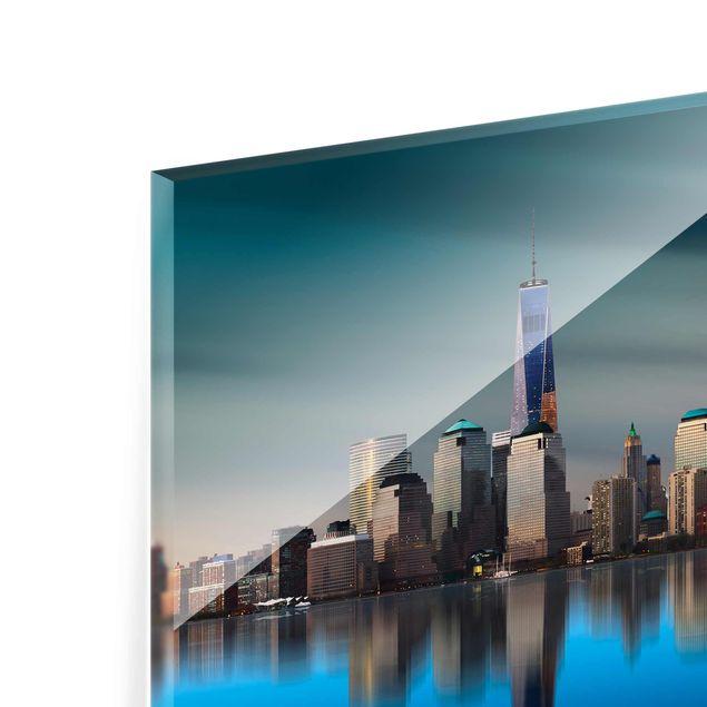 glasbild new york world trade center quer 2 3. Black Bedroom Furniture Sets. Home Design Ideas