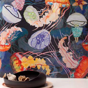 Produktfoto Vliestapete - Jelly Fish Black - Fototapete Rolle