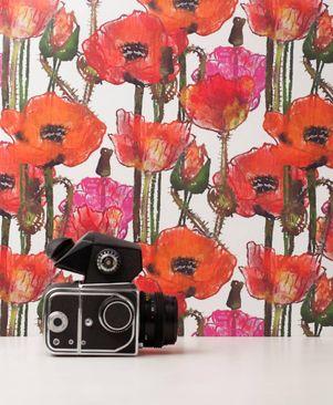Immagine del prodotto Carta da parati Rotolo con disegni - Poppy Field White