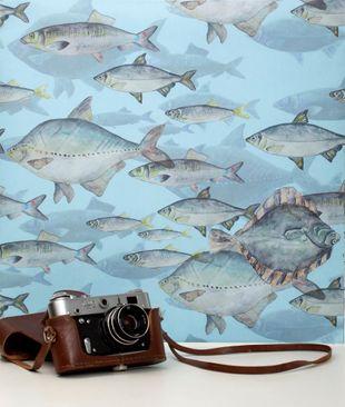 Produktfoto Vliestapete - Shoal Of Fish Blue - Fototapete Rolle