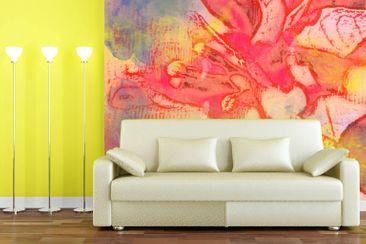 Produktfoto Vliestapete Premium - Watercolored Bougainvillea - Fototapete Quadrat