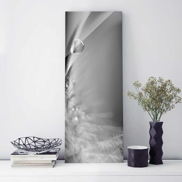 Produktfoto Glasbild - Story of a Waterdrop Black White - Panorama Hoch