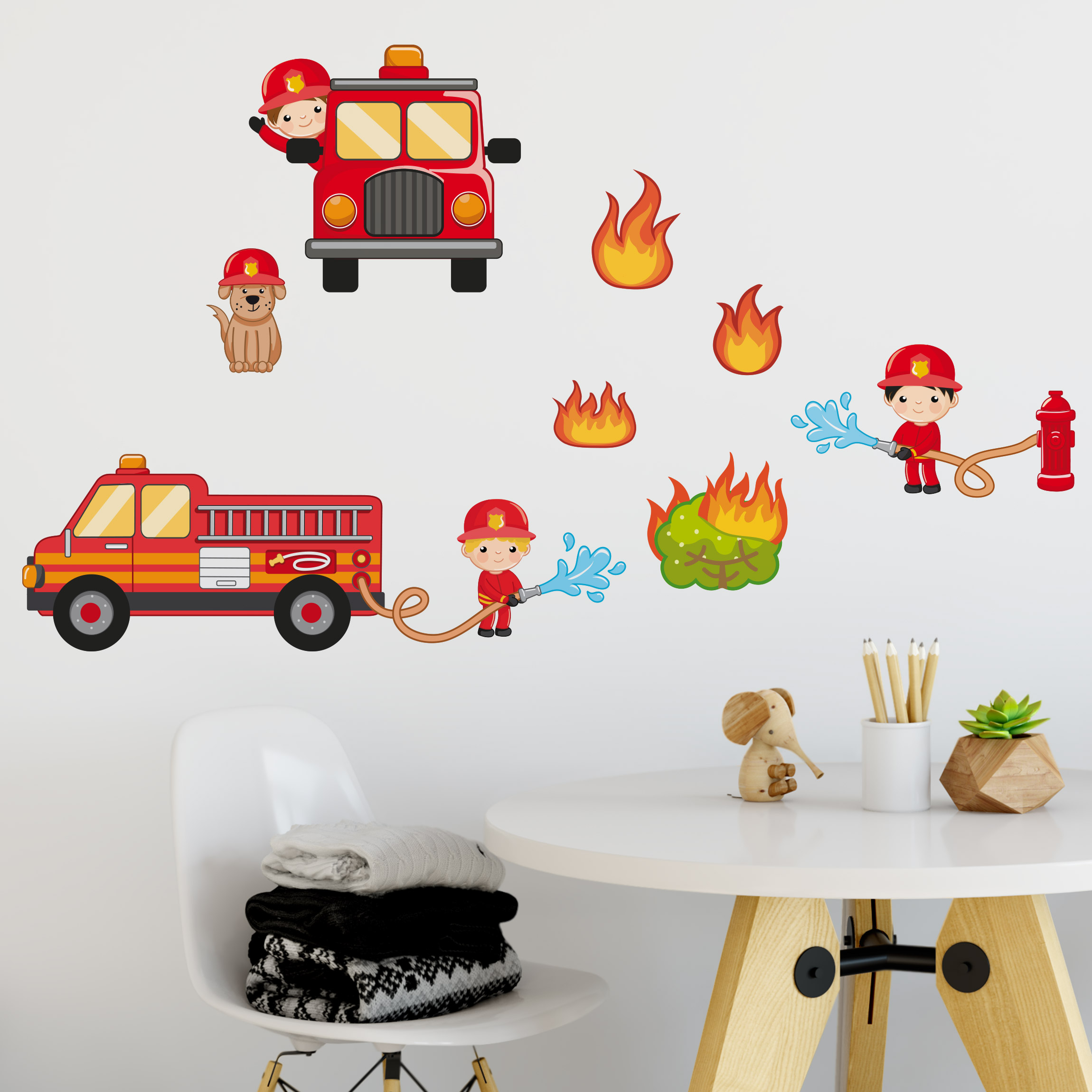 wandtattoo kinderzimmer feuerwehr im einsatz set. Black Bedroom Furniture Sets. Home Design Ideas