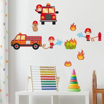 Wall Decal Fire Brigade In Action Set