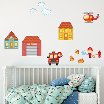 Immagine del prodotto Adesivo murale Firefighter Set with Houses